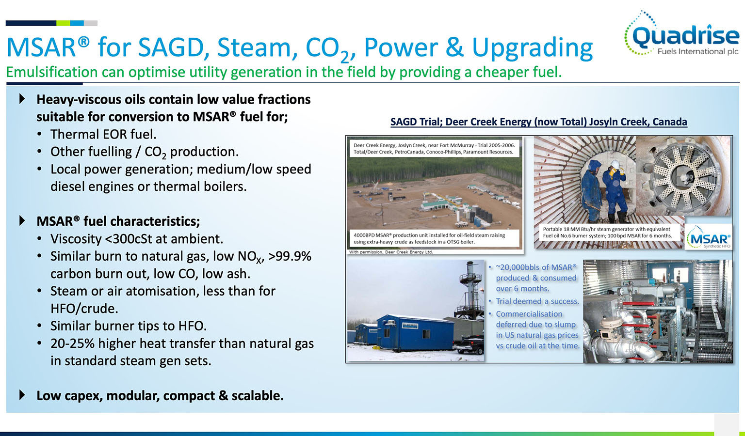 Msar For Sagd Steam Co2 Power